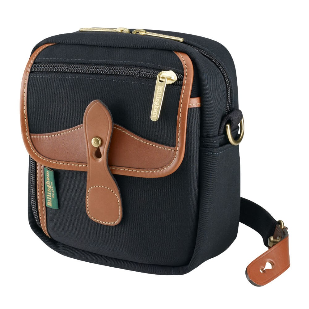 Billingham Pola Stowaway Sling Bag (Black Canvas/Tan Leather)