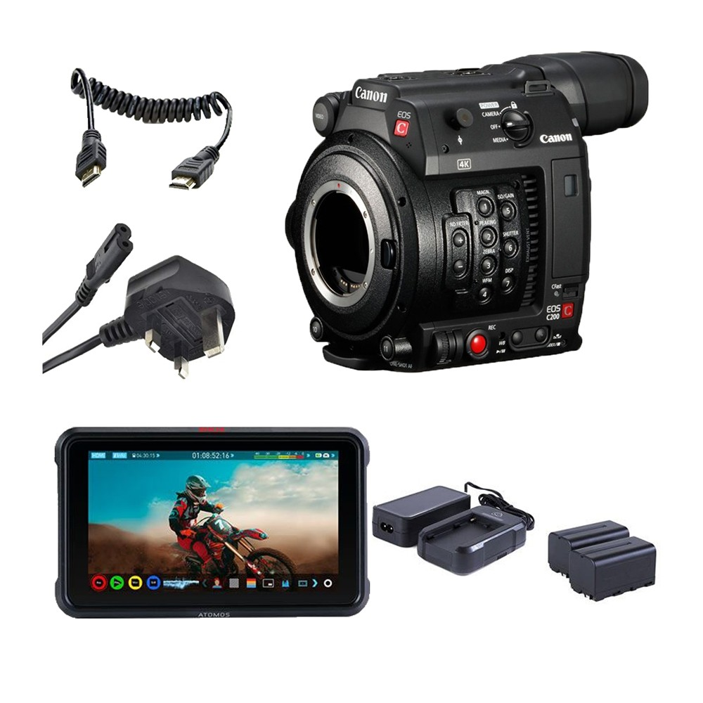 Canon EOS C200 Professional Camcorder Atomos Ninja V Power Kit
