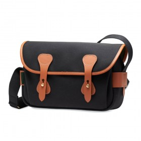 Billingham S3 Shoulder Bag - Black Canvas/Tan Leather
