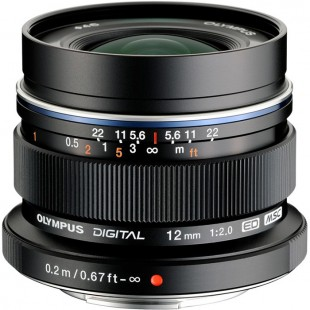Olympus M.Zuiko DIGITAL ED 12mm f/2 Lens - Black