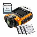 Ricoh WG-M2 Action Camera (Orange) - Triple Battery & 16GB SD Card kit