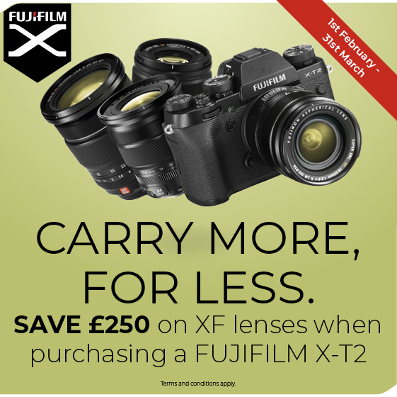 Save £250 on selected lenses when bought with the X-T2