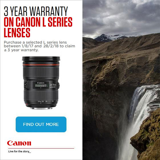 Free 3 Year warranty on Canon L Lenses