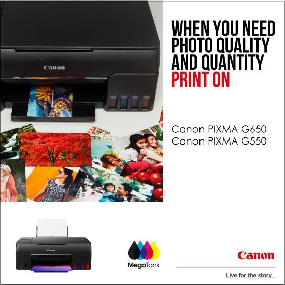 Canon MegaTank Pixma G650 and G550