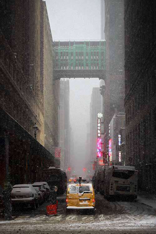 New York Street in the snow Street photography