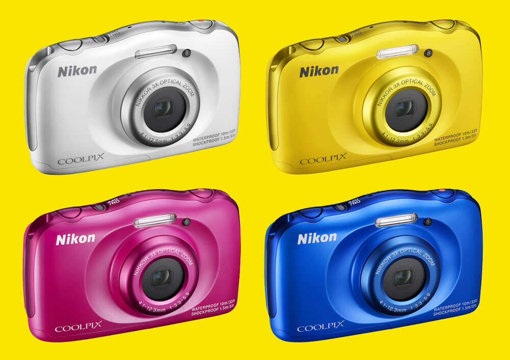 Available in Blue and Yellow, the Nikon W100 – With worry-free durability it's the perfect camera for all round family fun