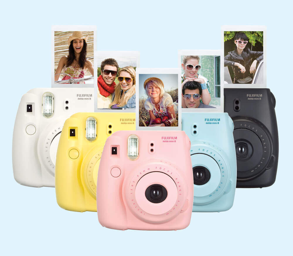 Fujifilm Instax Mini Instant Film Camera in white, yellow, pink , blue and black