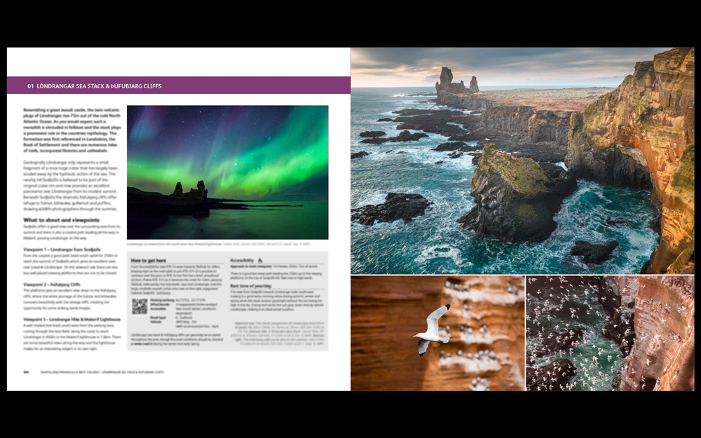 A few early example pages from the forthcoming Iceland guide
