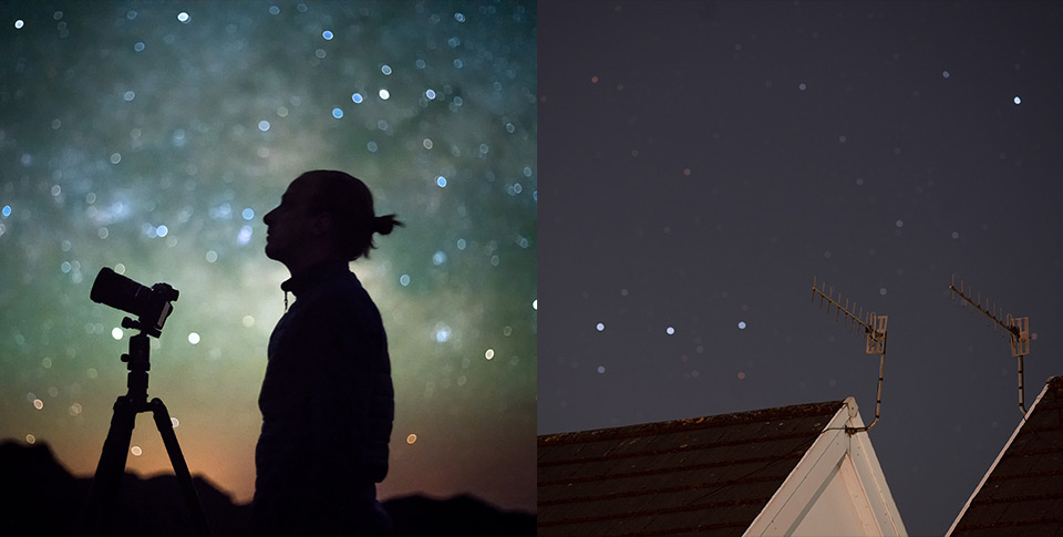 silhouette of man and camera against starry night sky