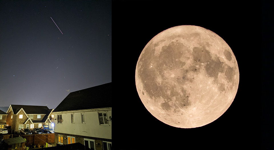 left: shooting star above house. right: close up of full moon